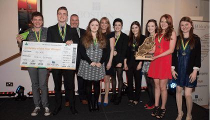 Charlie Milner, Isaac Sanderson, Heather Black, Rachael Tumelty, Emma Hodson, Cliodhna Caley, Rhian O'Leary, Katie Watterson together with their Mentor Jason Spooner from Manx Telecom and Ruth Robinson, Director of the Boston Charitable Foundation