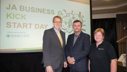 Stuart Nelson from Barclays, Graham Cregeen, MHK & Sue Cook from JA Isle of Man