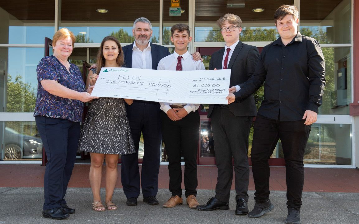 Sue Cook (Junior Achievement), Katie Nicholson (Bridge Angel Network), John Garland (SPARK Impact) – Callum Dentith, Mikey Makin and Andrew Gomersall from Flux.