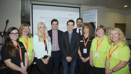 JA staff pictured with guest entrepreneurs Fraser Doherty MBE, Ben Towers and Zoe Jackson MBE
