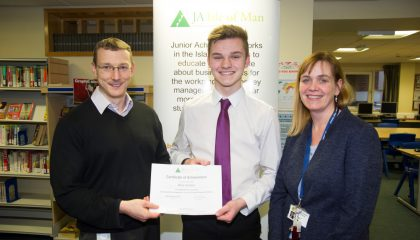 Oliver Venables has become the 1000th student to have attended a mock interview workshop at Ballakermeen High School organised by Manx charity Junior Achievement.