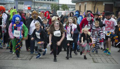 Ghosts, goblins, ghouls – even the odd costumed-canine – gathered on Douglas promenade on Sunday October 30 to take part in Manx charity Junior Achievement Isle of Man's Monster Dash.