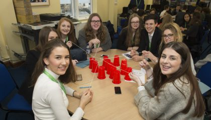 Students taking part in Junior Achievement's Global Entrepreneur Day