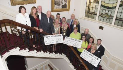 Former Mayor and mayoress of Douglas Sara Hackman and Councillor Carol Malarkey with representatives from the three charities to benefit from the 2015-2016 mayoral charity appeal
