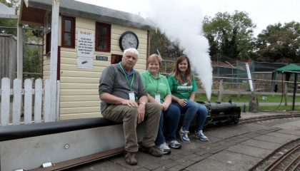 Eddy Ryan Chair of the Manx Steam and Model Engineering Club, Sue Cook and Sally Drinkwater from Junior Achievement